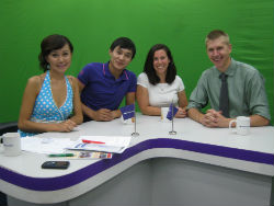 Peace Corps volunteers Meghan O'Connell and Steve Root appeared on a popular Kyrgyz television show to talk about the English camp.