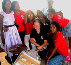 Peace Corps volunteer Anne Macheel with members of the local music school.