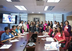 Peace Corps Director Aaron S. Williams with 21 Fellows from the National Hispana Leadership Institute (NHLI).