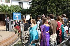 The new volunteers being sworn in by U.S. Ambassador to Nepal Peter Bodde.