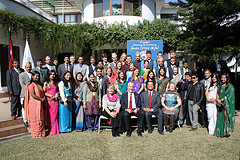 The new volunteers, Ambassador Bodde, Nepali Minister of Finance Bashar Man Pun, Peace Corps Chief of Staff Stacy Rhodes and Peace Corps staff.