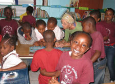 A Peace Corps volunteer working with youth in Nevis.