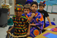 Students learn firsthand about traditional dress and culture from RPCVs
