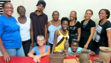 Peace Corps volunteer Joan Sara Romm and pottery students in St. Lucia.