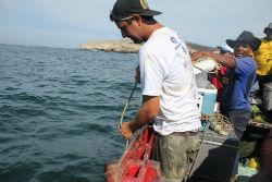 Peruvian community members taking water samples to screen for bacteria.