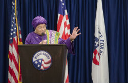 President Ellen Johnson Sirleaf of Liberia speaking at Peace Corps headquarters in Washington, DC.