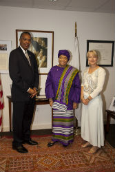 President Ellen Johnson Sirleaf, Peace Corps Director Aaron S. Williams and Peace Corps Deputy Director Carrie Hessler-Radelet.