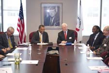 Peace Corps Director Aaron S. Williams and Save the Children CEO and President Charles MacCormack sign a Memorandum of Understanding (MOU) at Peace Corps headquarters in Washington, D.C.