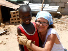 Peace Corps volunteer Karen Chaffraix and a member of her community in Senegal.
