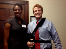 Returned Peace Corps volunteer Shelley Nweke and Congressman Joe Kennedy III.