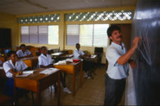 A Peace Corps volunteer teaching in St. Kitts during the '70s.