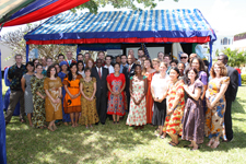 Peace Corps Tanzania volunteers with U.S. Ambassador to Tanzania Alfonso E. Lenhardt, Deputy Permanent Secretary in the Ministry of Education and Vocational Training Celestine Gesimba, and Peace Corps Tanzania Country Director Andrea Wojnar-Diagne.