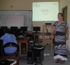 Peace Corps volunteer Elizabeth Crompton teaching a class at the local university.