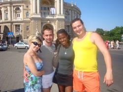 Peace Corps volunteer Natalie Legrand with Ukrainian community members.