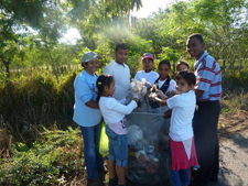 Local students and community members work together during the cleanup.