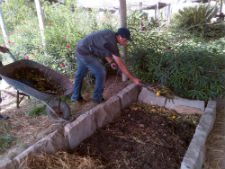 Peace Corps volunteer Michael Mazotti uses a worm bed to compost organic waste.
