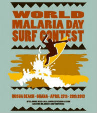A poster for the first World Malaria Day surf contest in Ghana.
