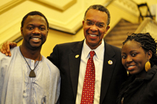 Peace Corps Director Aaron S. Williams with Alhaji Umar Njai and Linda Vakunta at a UW-Madison event honoring Peace Corps legacy in Africa.