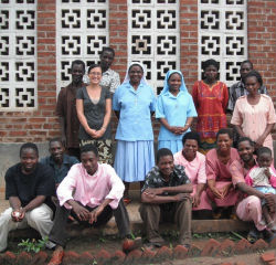 Peace Corps volunteer Allegra Panetto and other health center staff in Malawi.