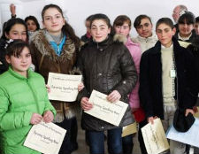 Students who won one of the spelling bees organized by Peace Corps volunteers in Armenia.