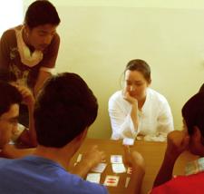 Peace Corps volunteer Shaylyn Romney Garrett at a Brain Camp in Jordan.