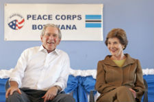 President Bush and former First Lady Laura Bush meet with Peace Corps volunteer and staff in Botswana (Courtesy of the Bush Center).