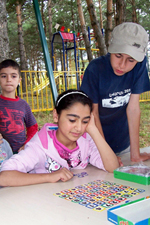 Children in Armenia play a game during a summer camp facilitated by Peace Corps volunteer Christopher Sherwood.