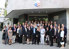 United States Senators, Peace Corps China volunteers and country director Bonnie Thie at Peace Corps Chinas Headquarters.