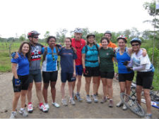 Peace Corps/Costa Rica volunteers and staff pose at the Nicaraguan border.