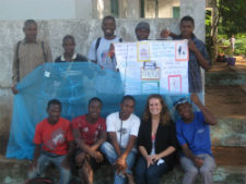 Peace Corps/Mozambique volunteer Michelle Crothers with her youth group after they performed a malaria prevention skit.
