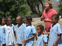 Peace Corps volunteer Steven Easterby with local students. Easterby is teaching environmental education at schools in Cape Verde.