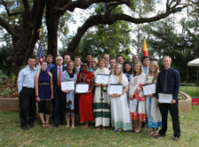Newly sworn-in Peace Corps volunteers in Ethiopia.
