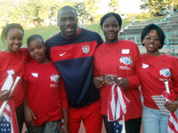 Students with soccer player and U.S. men's national team forward Jozy Altidore.