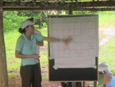 Peace Corps volunteer Ashley Gleasons trains people in her community.