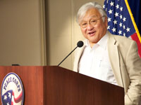 U.S. Congressman and returned Peace Corps volunteer Mike Honda speaking at Peace Corps headquarters in Washington, D.C.