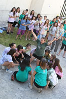 Macedonian girls participate in Camp GLOW activities.