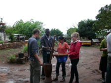 Peace Corps volunteer Lena Jenison (right) with other Peace Corps volunteers during a training exercise.
