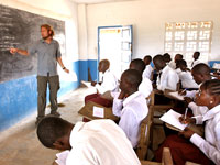 In Liberia, Peace Corps Response volunteer Russell Lyon of Burnsville, N.C., teaches chemistry and English in a local secondary school.