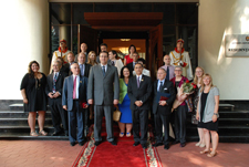 Moldova Acting President and Speaker of Parliament Marian Lupu, U.S. Ambassador to Moldova Asif Chaudhry, Acting Peace Corps Country Director Margaret Molinari, and Peace Corps volunteers and staff at the Presidential Residence in Chisinau.