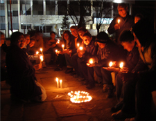 Community members meet at the town square in Bulgaria to commemorate Earth Hour.