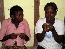 REDES girls learn a skill that could lead to income generation.