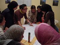 Volunteer So-Youn Kim works with youth in Morocco