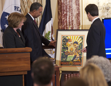 Peace Corps Director Aaron S. Williams (center), Under Secretary of Public Diplomacy and Public Affairs Judith McHale (left) and Special Olympics Chairman and CEO Tim Shriver (right).
