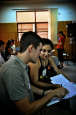Two workshop participants work together during a group activity.