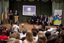 U.S. Ambassador to Ukraine John F. Tefft swore 103 Peace Corps volunteers into service in Ukraine.