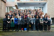 Newly sworn-in Peace Corps volunteers in Ukraine.