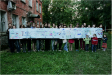 Community members with their artwork