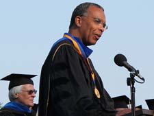 Peace Corps Director Aaron S. Williams delivers the keynote address to graduating students at UCLA.