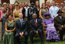 U.S. Ambassador to Zambia Mark Storella and President of Zambia Michael Sata with Peace Corps volunteers in Lusaka.