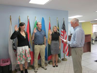 PCRV Grant Earich is sworn into service in with other Eastern Caribbean Peace Corps Response Volunteers in St. Lucia